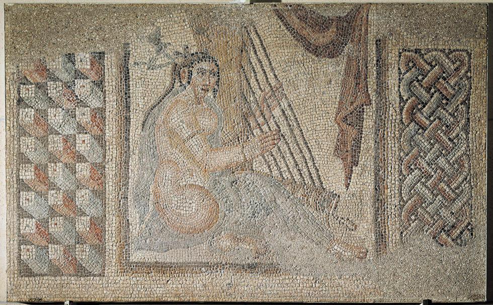 Arpista (pavimento de mosaico), 241-272 d.C. Bishapur, Irán. Piedra y mármol. Musée du Louvre. © RMN-Grand Palais, Musée du Louvre. Foto : Franck Raux